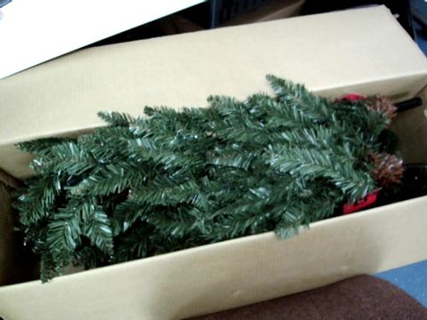 Lot 11003 WERCHRISTMAS PRE-LIT PENCIL CHRISTMAS TREE WITH 180 LED LIGHTS, 6.5 FEET GREEN
