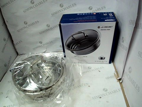 Lot 10362 LE CREUSET STAINLESS STEEL MULTI-STEAMER WITH GLASS LID
