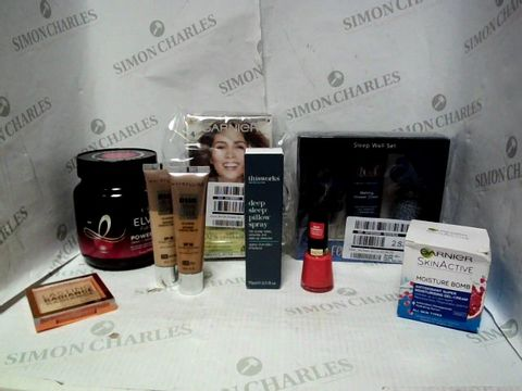 Lot 4388 LOT OF APPROXIMATELY 8 BEAUTY ITEMS, TO INCLUDE FEATHER & DOWN SLEEP WELL SET, L'OREAL ELVIVE POWER HAIR MASK, REVLON CORAL NAIL POLISH, ETC RRP £124.00
