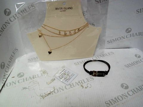 """Lot 4338 LOT OF APPROXIMATELY 6 ASSORTED JEWELLERY ITEMS, TO INCLUDE RIVER ISLAND LAYER NECKLACE, LOVE SILVER HOOP EARRINGS, TREAT REPUBLIC """"ROBERT"""" BRACELET, ETC RRP £158.00"""