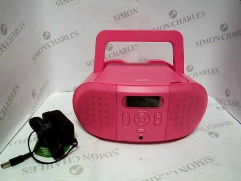 Lot 7373 BOXED ONN CD AM/FM RADIO BOOMBOX IN PINK  RRP £12.00