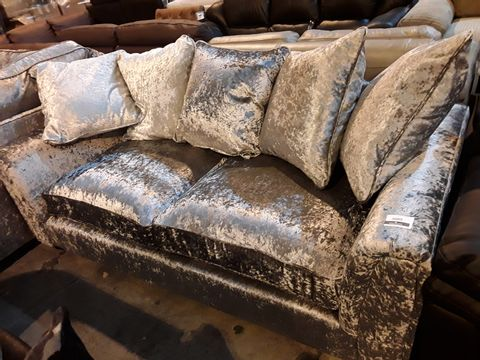 Lot 3009 DESIGNER CRUSHED SILVER VELVET THREE SEATER SOFA WITH SCATTER CUSHIONS