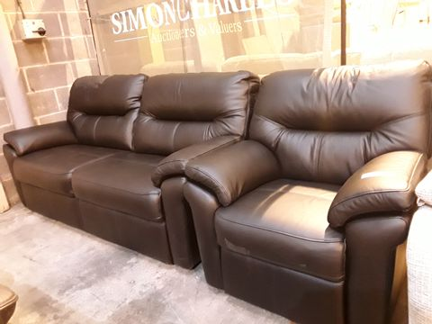 Lot 620 QUALITY BRITISH MANUFACTURED HARDWOOD FRAMED BLACK LEATHER FIXED LOUNGE SUITE, COMPRISING THREE SEATER SOFA & EASY CHAIR