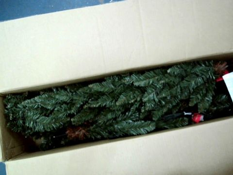 Lot 11006 WERCHRISTMAS PRE-LIT PENCIL CHRISTMAS TREE WITH 180 LED LIGHTS, 6.5 FEET GREEN