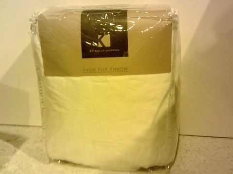 Lot 15305 K BY KELLY HOPPEN RUCHED FAUX FUR THROW - WINTER WHITE