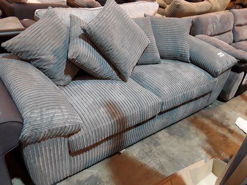 Lot 3033 DESIGNER GREY JUMBO CHORD THREE SEATER SOFA WITH SCATTER CUSHIONS