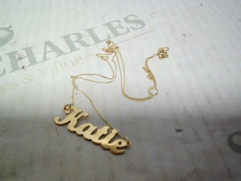 """Lot 4347 9CT YELLOW GOLD PERSONALISED """"KATIE"""" SCRIPT NECKLACE RRP £164.00"""