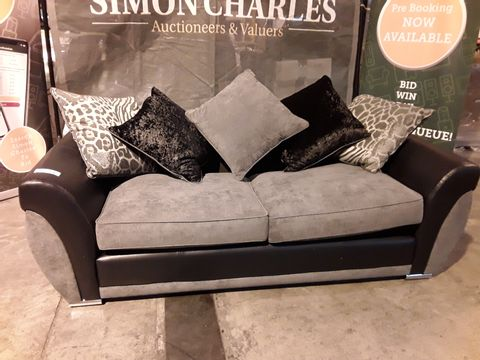 Lot 502 DESIGNER BLACK FAUX LEATHER & GREY FABRIC THREE SEATER SOFA WITH SCATTER CUSHIONS