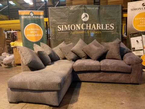Lot 2125 TWO DESIGNER GREY FABRIC CHAISE SOFA SECTIONS
