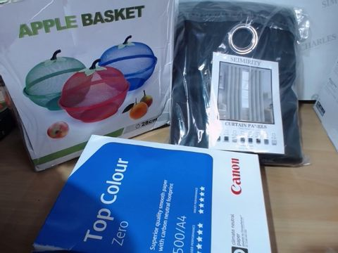 Lot 3006 MEDIUM LOT OF ASSORTED HOUSEHOLD ITEMS TO INCLUDE: SEIMIRITY BLACK CURTAIN PANELS, APPLE BASKET, CANON TOP COLOUR ZERO A4 PAPER ETC