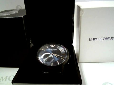 Lot 701 EMPORIO ARMANI CONNECTED BLACK LEATHER STRAP SMART WATCH RRP £390.00