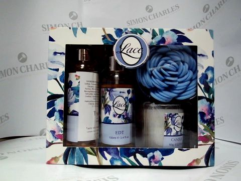 Lot 8052 LACE GIFT SET - BODY WASH, EDT AND A CANDLE