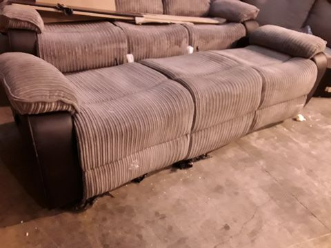 Lot 10513 BLACK FAUX LEATHER & GREY JUMBO CHORD MANUAL RECLINING THREE SEATER SOFA BASE - NO BACK