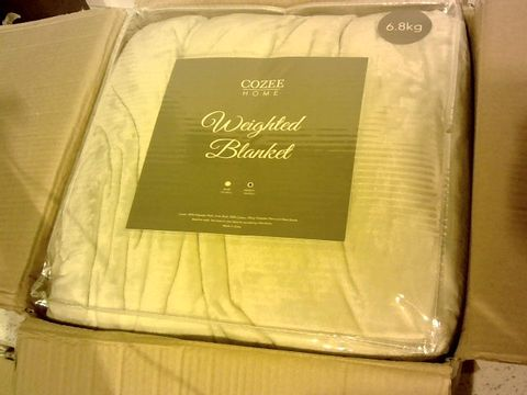 Lot 15324 COZEE HOME WEIGHTED BLANKET WITH REMOVABLE PLUSH COVER - IVORY 15LBS
