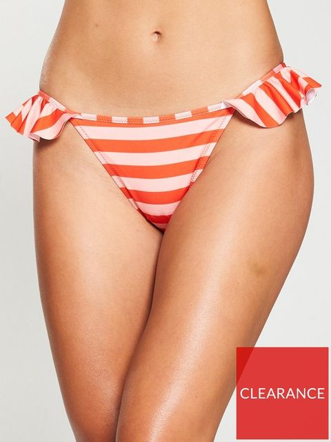 Lot 1900 BRAND NEW V BY VERY FRILL HIPSTER BIKINI BRIEFS - ORANGE/STRIPE, SIZE 18