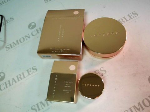 Lot 1097 A BOX OF APPROXIMATELY 45 MAKE UP ITEMS TO INCLUDE CRESENT MOON HIGHLIGHTER POWER AND POLISHED GLOW POT