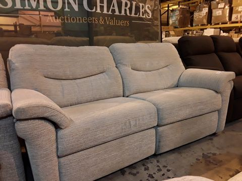 Lot 617 QUALITY BRITISH MANUFACTURED HARDWOOD FRAMED BEIGE FABRIC POWER RECLINING THREE SEATER SOFA