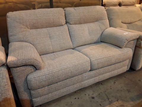 Lot 618 QUALITY BRITISH MANUFACTURED HARDWOOD FRAMED BEIGE FABRIC FIXED TWO SEATER SOFA