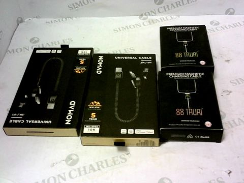 Lot 2139 LOT OF 4 ASSORTED BRAND NEW NOMAD ITEMS TO INCLUDE UNIVERSAL CABLES AND PREMIUM MAGNETIC CHARGING CABLES