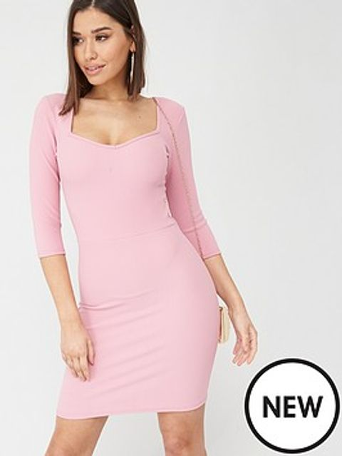 Lot 1881 BRAND NEW BOOHOO SQUARE NECK BODYCON PINK DRESS - SIZE 10
