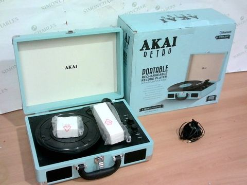 Lot 2232 AKAI RETRO PORTABLE RECHARGEABLE RECORD PLAYER