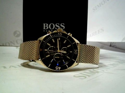 Lot 4003 HUGO BOSS OCEAN EDITION BLACK AND GOLD DETAILED MEN'S WATCH RRP £529.99