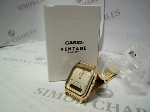 Lot 414 CASIO RETRO GOLD DIGITAL AND ANALOGUE WATCH RRP £77.99