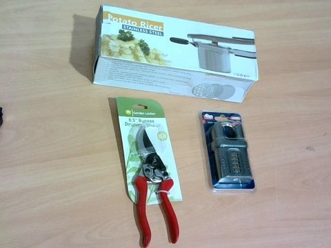 Lot 2216 BOX OF LARGE QUANTITY OF ASSORTED HOUSEHOLD ITEMS TO INCLUDE POTATO RICER, GARDEN SHEARS, PADLOCK ETC.