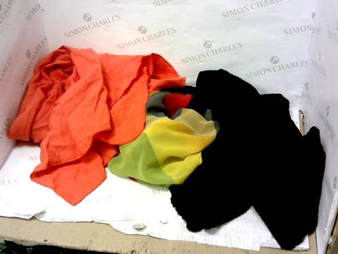 Lot 8002 BOX OF A SIGNIFICANT QUANTITY OF ASSORTED DESIGNER CLOTHING ITEMS TO INCLUDE DESIGNER ORANGE DRESS, DESIGNER MULTI-COLOURED DRESS, DESIGNER BLACK FRILL DRESS ETC