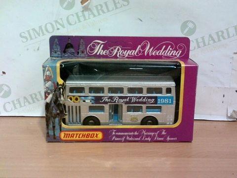 Lot 1021 EXCELLENT CONDITION MATCHBOX 1981 PRINCESS DIANA ROYAL WEDDING BUS DIECAST