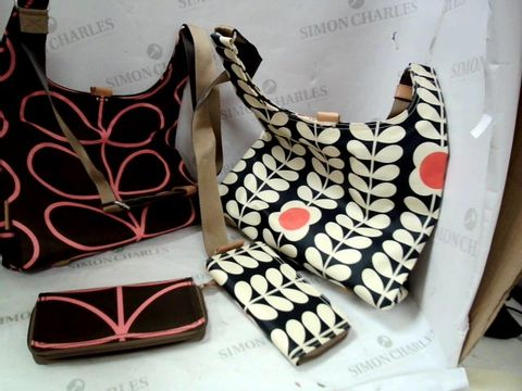 Lot 8327 FOUR DESIGNER ORLA KIELY CANVASS SHOPPING BAGS WITH MATCHING PURSES - 2 BLUE/ORANGE, 2 BLACK/PINK