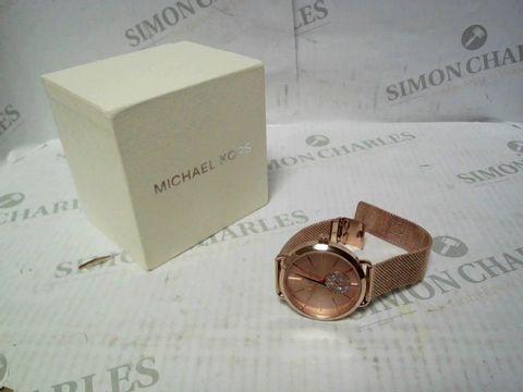 Lot 4329 MICHAEL KORS MK3845 PORTIA BLUSH SUNRAY DIAL ROSE GOLD STAINLESS STEEL MESH STRAP LADIES WATCH RRP £299.00