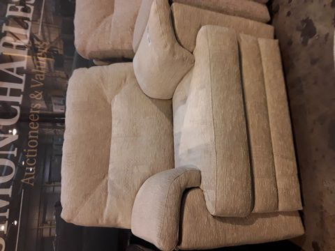 Lot 634 QUALITY BRITISH MANUFACTURED HARDWOOD FRAMED BEIGE FABRIC FIXED EASY CHAIR