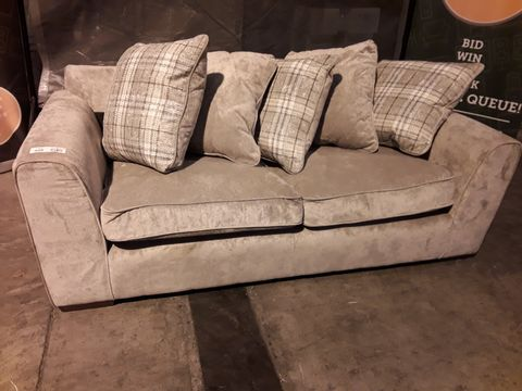 Lot 520 DESIGNER SILVER FABRIC THREE SEATER SOFA WITH REVERSIBLE SCATTER CUSHIONS