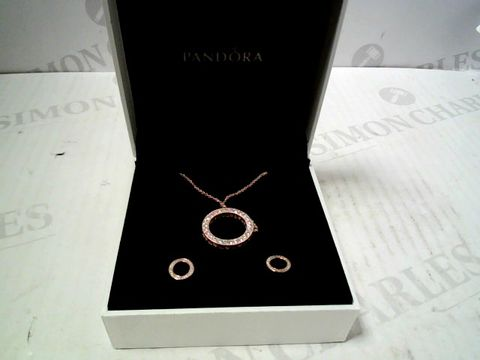 Lot 3074 DESIGNER ROSE GOLD TONE NECKLACE & PENDANT WITH ACCOMPANYING EARRINGS