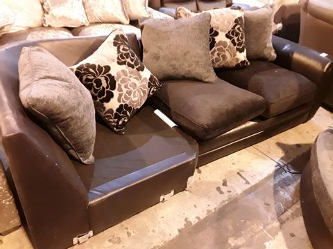 Lot 3015 TWO BLACK FAUX LEATHER & FABRIC CORNER GROUP SECTIONS WITH SCATTER CUSHIONS