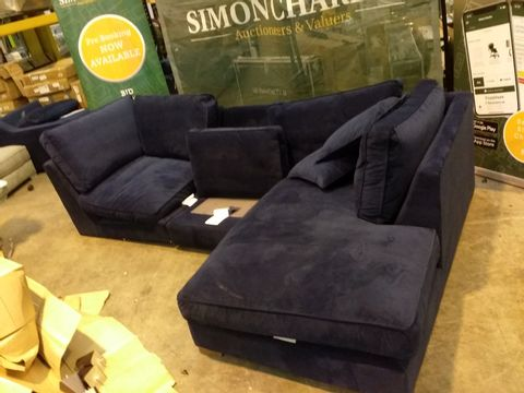 Lot 2042 QUALITY DESIGNER BRITISH MADE NAVY FABRIC CHAISE CORNER SOFA SECTIONS