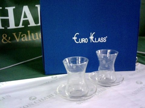 Lot 8121 BOXED SET OF 6 EURO KLASS WAISTED GLASSES WITH DISHES
