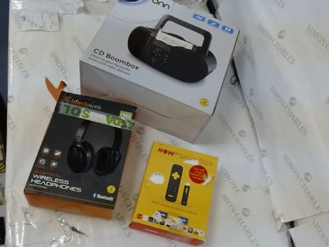 Lot 153 LOT OF APPROXIMATLEY 15 ASSORTED ELECTRICAL ITEMS TO INCLUDE: ONN CD BOOMBOX, NOWTV SMARTSTICK, BLACKWEB BLUETOOTH WIRELESS HEADPHONES ETC