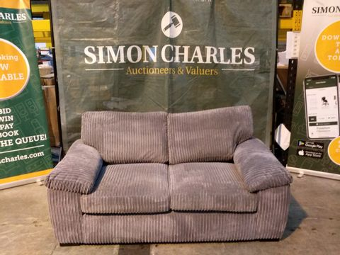 Lot 2107 DESIGNER GREY LINED FABRIC TWO SEATER SOFA