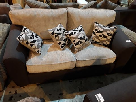 Lot 3024 DESIGNER CHARCOAL & SILVER TWO SEATER SOFA