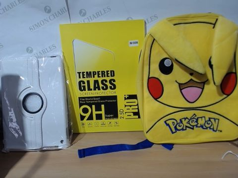 Lot 2000 MEDIUM LOT OF ASSORTED HOUSEHOLD ITEMS TO INCLUDE: POKEMON (PIKACHU) BAG, IPAD COVERS, TEMPERED GLASS SCREEN PROTECTOR FOR IPAD ETC