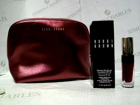 Lot 5322 BOBBI BROWN MAKE-UP BAG WITH FOUNDATION SKIN SERUM IN SAND & LIQUID LIP IN WILD ORCHID