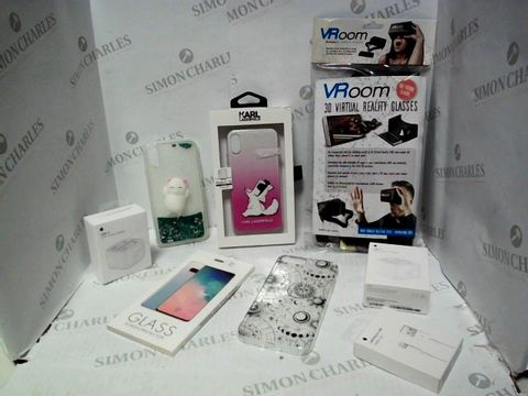 Lot 561 LOT OF A LARGE QUANTITY OF ASSORTER MOBILE PHONE/TABLET ACCESSORIES, TO INCLUDE VR GLASSES, KARL LAGERFELD CAT CASE, APPLE CHARGERS, ETC