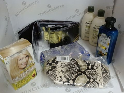 Lot 8502 BOX OF A LARGE QUANTITY OF ASSORTED COSMETIC ITEMS, TO INCLUDE ARCHI LLOYD HAIR EXTENSIONS, GARNIER HAIR DYE, DESIGNER MAKE-UP BAGS, ETC