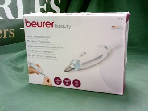 Lot 4088 BEURER MP 62 ELECTRIC MANICURE AND PEDICURE SET WITH 10 TIPS AND LED LIGHT WITH STORAGE BAG WHITE