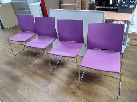 Lot 28 SET OF FOUR PURPLE CHAIRS