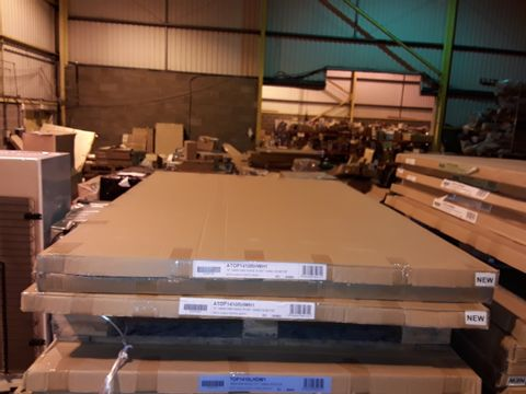 Lot 5087 LOT OF 3 BRAND NEW 1400X1000MM WAVE RIGHT HAND DESKTOPS WITH CABLE PORTS - WHITE
