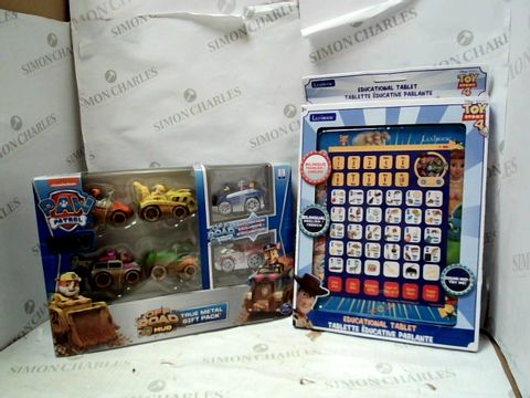 Lot 15046 LEXIBOOK TOY STORY EDUCATIONAL TABLET and PAW PATROL TRUE METAL MULTI-PACK VEHICLES RRP £42.99