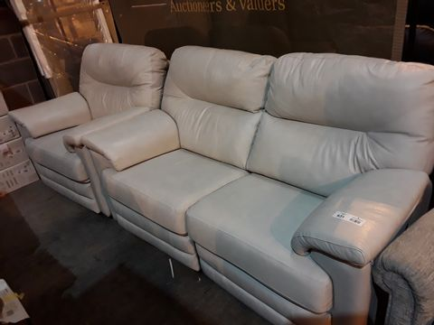Lot 631 QUALITY BRITISH MANUFACTURED HARDWOOD FRAMED CREAM LEATHER RECLINING LOUNGE SUITE, COMPRISING, MANUAL THREE SEATER SOFA & POWERED EASY CHAIR